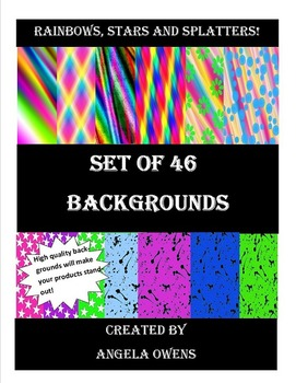 Rainbow, Splatters and Stars Backgrounds