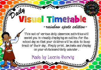Rainbow Spots Visual Timetable - Daily Chart - Free