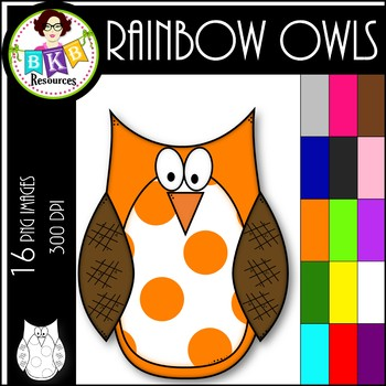 Rainbow Spotted Owl ● Clip Art ● Products for TpT Sellers