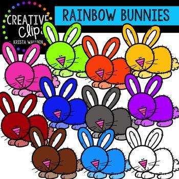 Rainbow Spring Bunnies: Spring Clipart {Creative Clips Clipart}