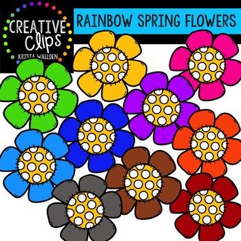 Rainbow Spring Flowers {Creative Clips Clipart}