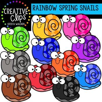 Rainbow Spring Snails: Spring Clipart {Creative Clips Clipart}