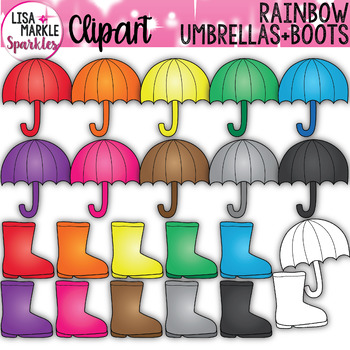 Rainbow Spring Umbrella and Rain Boot Clipart