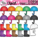 Umbrella and Rain Boot Clipart Rainbow Spring