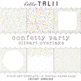 SPRINKLES Confetti Clipart Overlays- Transparent PNG + JPG Digital Papers
