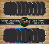 Frames and Borders Square Rainbow Chalkboard {Commercial U