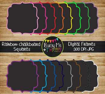 Frames and Borders Square Rainbow Chalkboard {Commercial Use Digital Graphics}