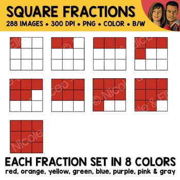 Rainbow Square Fractions Clipart