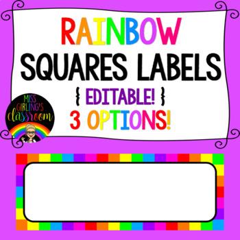 Rainbow Squares Labels {EDITABLE!}