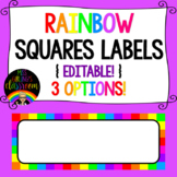 Rainbow Squares Labels {EDITABLE!}