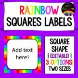 Rainbow Squares Labels - Square Shape {EDITABLE!}