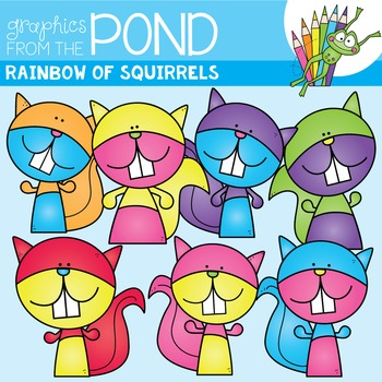 Rainbow Squirrels Clipart