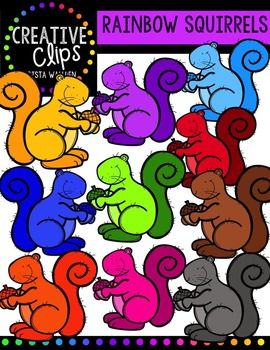 Rainbow Squirrels {Creative Clips Digital Clipart}