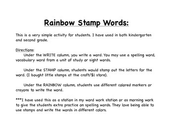 Rainbow Stamp Words