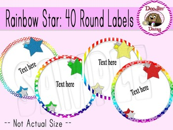 Rainbow Star: 48 Round Labels (12 per page)