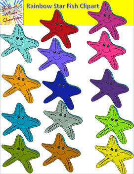 Rainbow Star Fish Clipart - 15 Graphics - Under the Sea Theme