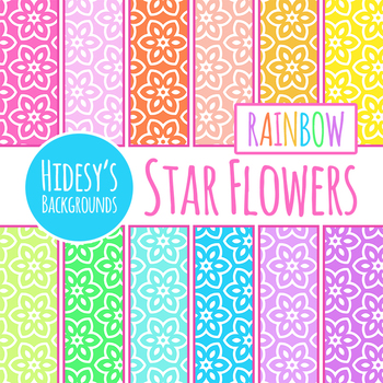Rainbow Star Flowers Digital Papers / Backgrounds / Clip Art Set Commercial Use