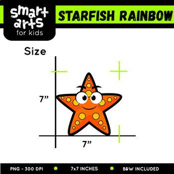 Rainbow Starfish Clip Art