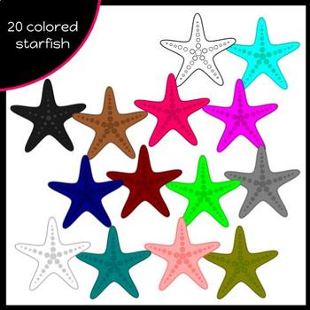 Rainbow Starfish {Doodles and Doilies Clipart}