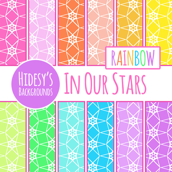 Rainbow Stars Backgrounds / Digital Paper Clip Art Set for Commercial Use