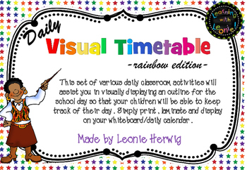 Rainbow Stars Visual Timetable - Daily Chart - Free