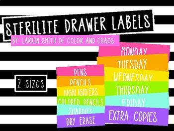 Rainbow Sterilite Drawer Labels. 2 Sizes. Growing Bundle