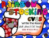 Rainbow Stocking CVC Short e Write the Room Christmas File Folder Game Center