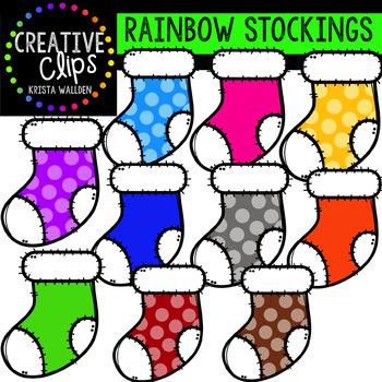Rainbow Stockings {Creative Clips Digital Clipart}