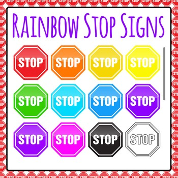 Rainbow Stop Signs Commercial Use Clipart