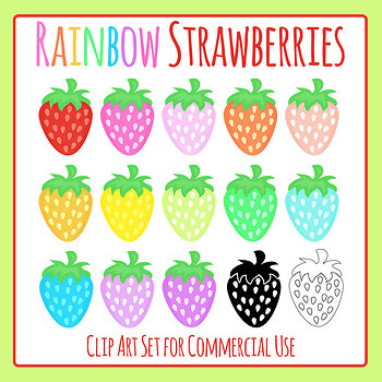 Rainbow Strawberries Clip Art Set for Commercial Use