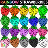 Rainbow Strawberries Clipart - Summer Strawberry Clip Art