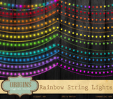 Rainbow String Lights Clipart, Party Lights Vector and PNG clip art