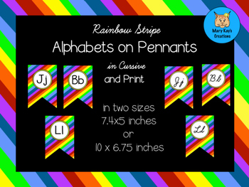 Rainbow Stripe Alphabets on Pennants in Cursive and Print