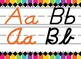 Rainbow Stripe Bright Neon Themed cursive and print alphabet strip