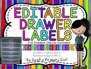 Rainbow Stripe Editable Drawer Labels