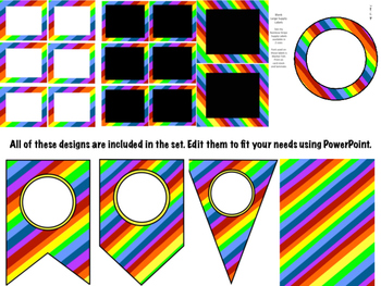 Rainbow Stripe Editable Nameplates, Bookmarks, Pennants, and Frames