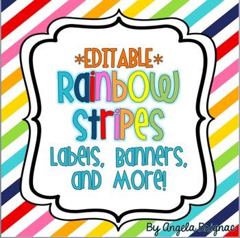 Rainbow Stripe Label Pack {Cute, Colorful, EDITABLE!}