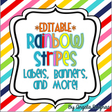 Rainbow Stripe Label Pack {Cute, Colorful, EDITABLE!}