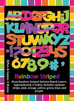 Rainbow Stripe, Neon Themed Bulletin Board Letters
