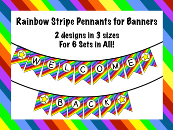 Rainbow Stripe Pennants for Banners