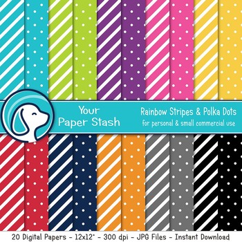 Rainbow Stripe & Polka Dot Digital Scrapbook Papers, Primary Color Backgrounds