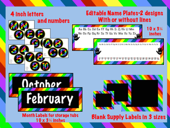 Rainbow Stripe Storage & Supply Labels, Name Plates, Letters, and Numbers