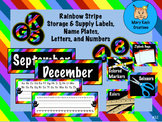 Rainbow Stripe Storage & Supply Labels, Name Plates, Lette