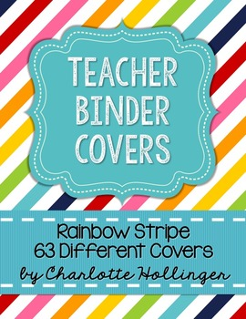 Rainbow Stripe Teacher Binder Covers - 63 Different Covers