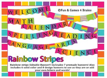 Rainbow Stripe Themed Editable Bulletin Board Banner