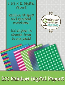 Rainbow Stripe and Gradient Digital Paper