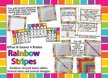 Rainbow Stripe themed Times tables. Multiple sizes and designs.