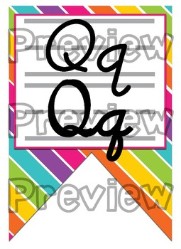 Rainbow Stripe themed print and cursive Alphabet banner