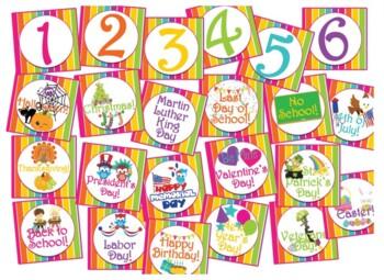 Rainbow Striped Bright Neon Themed Calendar Bulletin Board Set