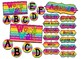 Rainbow Striped Bright Neon Themed agenda, subject, group, and word wall signs
